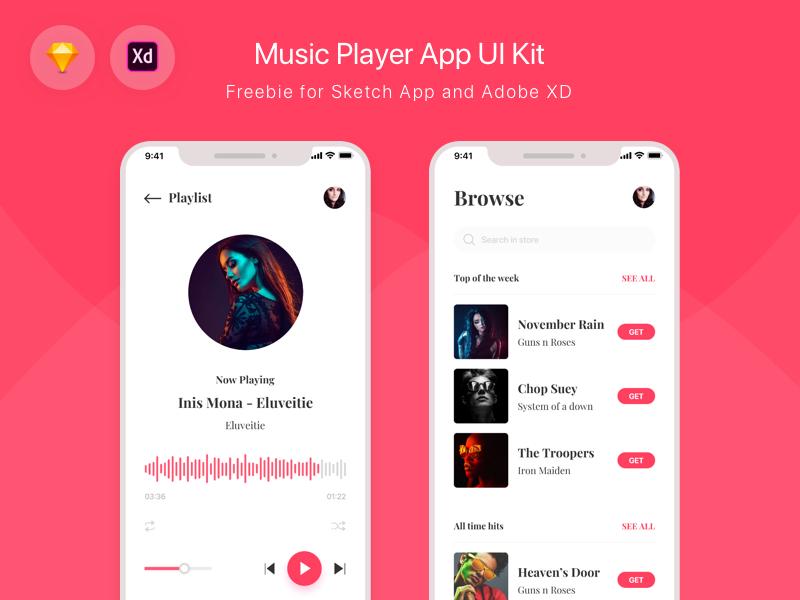 Freebie - Music Player App UI Kit ux mockup free ui ui kit music player ios app sketch xd freebie iphone x