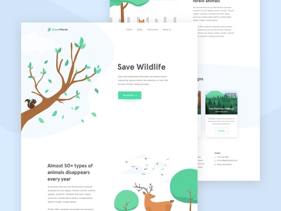 Greenplanet - Campaign Homepage cryptocurrency blockchain android ios agency minimal app product illustration vector art trending typography concept new trend popular user experience ux user interface ui service landing page campaign event homepage saas b2b website web design template