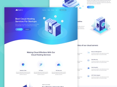 Homepage - CloudHost Website pricing contact support business b2b b2c saas sass ecommerce shop food restaurant icon freebie bitcoin product trending new trend isometric crypto currency ico blockchain cloud hosting service agency web app concept landing page website template layout design user interface experience ui ux