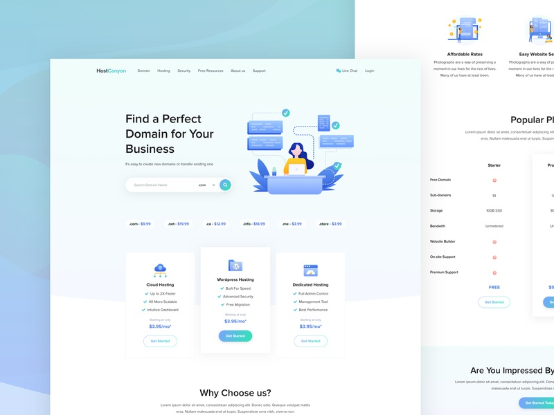 Homepage - Host Canyon google analytics statistics corporate agency service android ios app dashboard typography layout concept blockchain cryptocurrency b2b saas sass b2c experience popular trending illustrations user interface email form interface icon kit domain hosting pricing support homepage ui ux design web landing page website