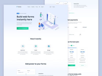 Formera - Web Form Builder Homepage web design homepage ui ux kit pricing form popular trending typography minimal clean new trend landing page template ios app user interface illustration agency website google analytics statistics dashboard saas b2b builder cryptocurrency blokchain corporate b2c service contact android user experience mvp