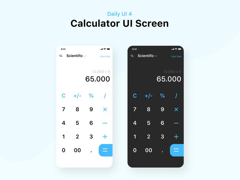 Daily UI #4 Calculator App dailyui dark ui calculator app calculator ui ios simple app mobile design ux clean ui dribbble minimalist