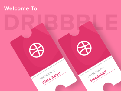 Welcome to Dribbble pink shots vector ticket invitation new-member dribbble