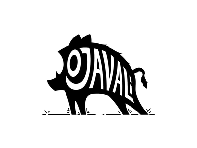 O Javali simple javali silhouette monochromatic black vector logo illustration boar wild animal hog