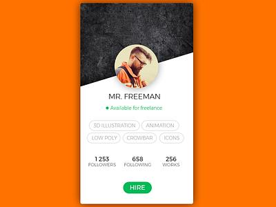 Daily UI, Week Six, Day 7 - Profile Screen crowbar black green orange followers tags hire profile