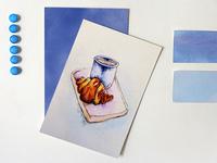 Watercolor croissant