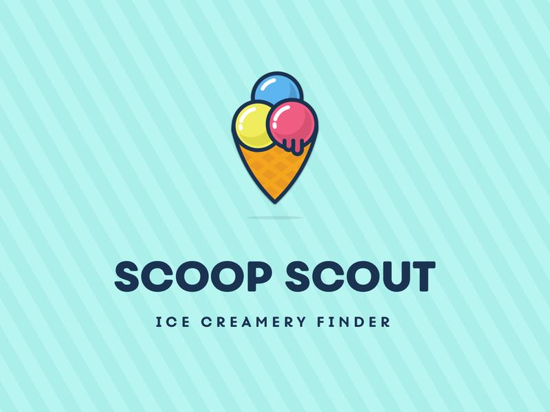 Scoop Scout Logo sweets candy location finder creamery ice cream cone ice cream illustration logo design logo branding
