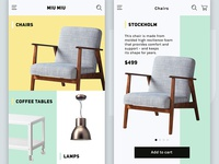 eCommerce UI for furniture store