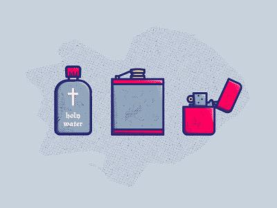 ILLUSTRATION   Supernatural Survival Kit holy water hunter tv show winchester supernatural icon line illustration