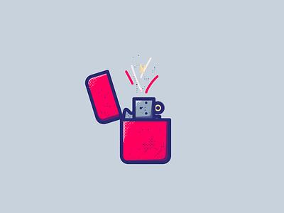 catching fire sparks monoline fire zippo lighter illustration