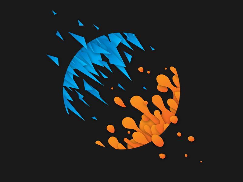 Cyan and Orange illustration vector