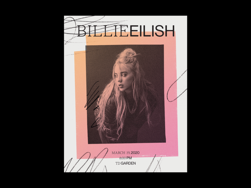 Billie Eilish at TD Garden music gig poster gradient scribble billie eilish collage show poster poster design poster