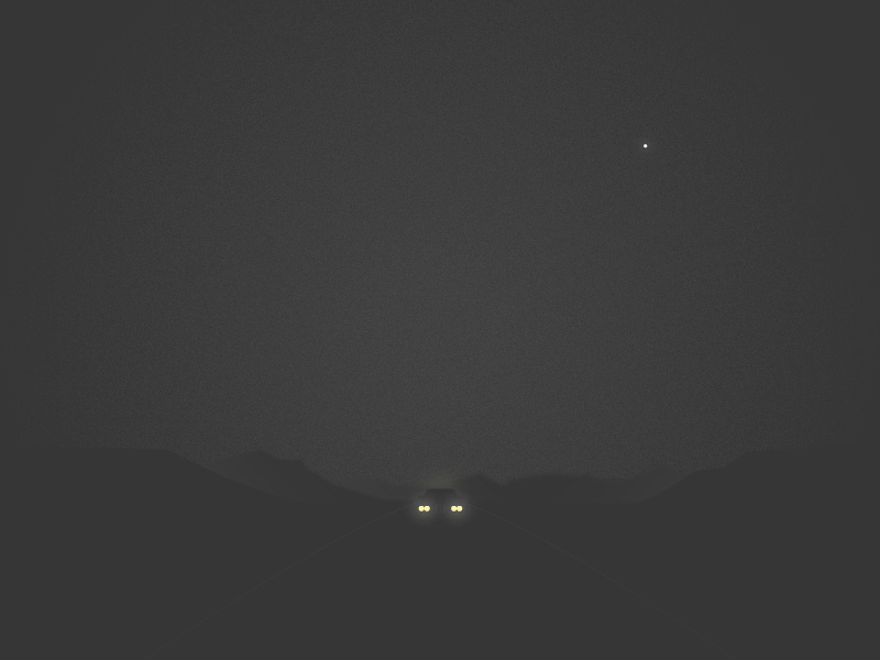 Night Drive headlights glow soft bmw desert night geometric landscape minimal car atmosphere illustration