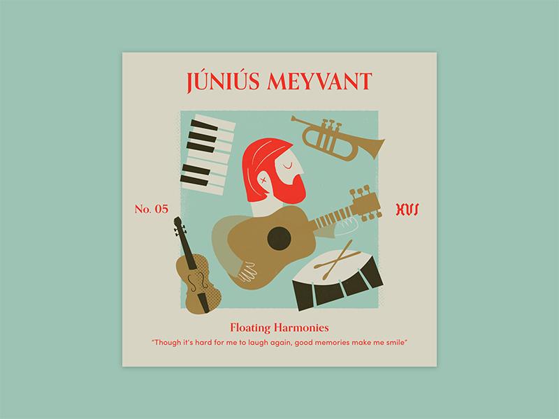 "Five Sixteen — Júniús Meyvant ""Floating Harmonies"" album art print offset texture typography series music logo illustration art album"