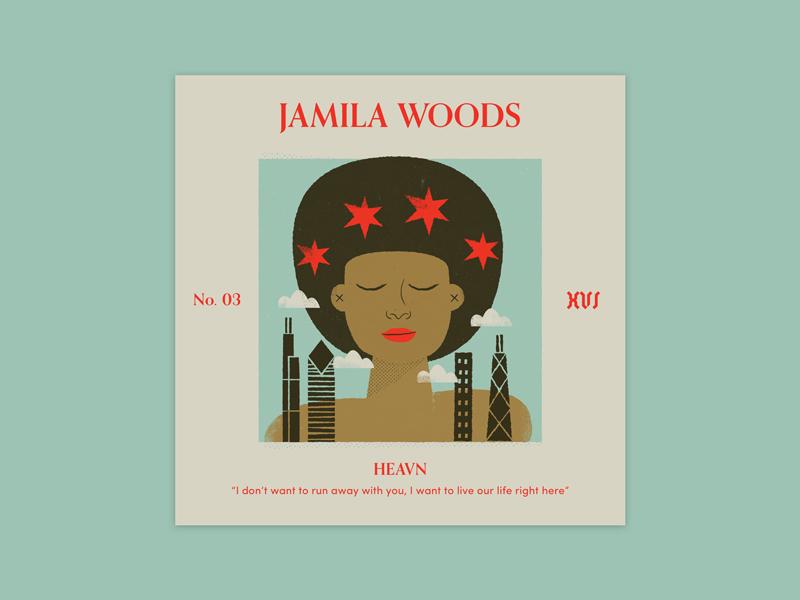 "Five Sixteen — Jamila Woods ""HEAVN"" album art print offset texture typography series music logo illustration art album"