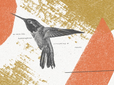 hummingbirds abstract halftone line hummingbird paper acrylic texture color shape collage illustration