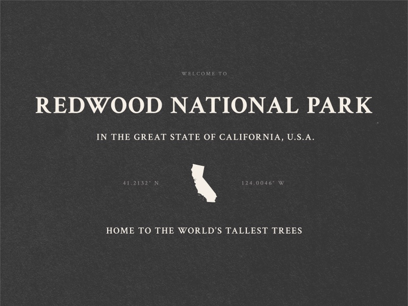 BSDS Design Challenge - National Parks texture redwood california national parks bsds crimson text typography