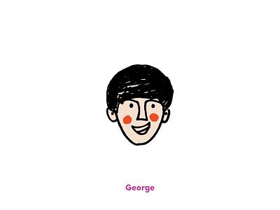 Fab Four - George vector texture illustration hand-drawn fun grit beatles art