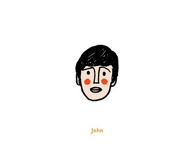 Fab Four - John vector texture hand-drawn doodle illustration grit fun beatles art