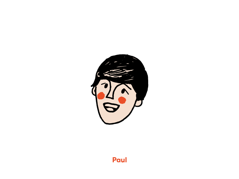 Fab Four - Paul vector texture hand-drawn illustration grit fun doodle beatles art