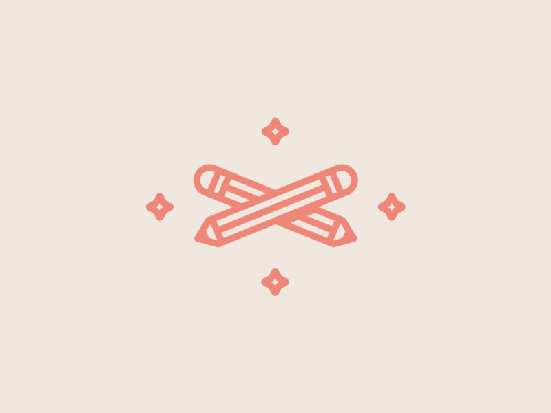 Pencils simple branding stars pencils icon illustration