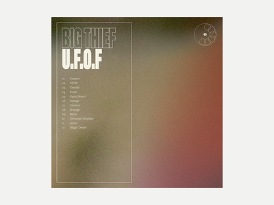 6. Big Thief - U.F.O.F. series grit album art album music typography art texture