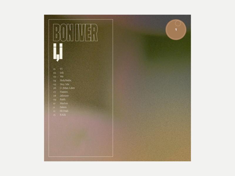 1. Bon Iver - i,i series grit album art album music typography art texture
