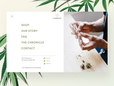 Cannabis Jar –Navigation menu navigation cannabis userinterface ui website web