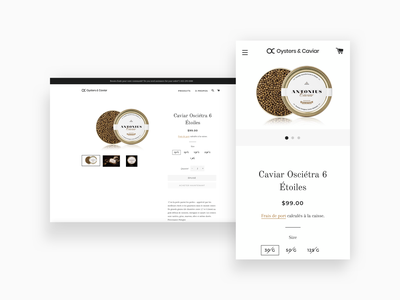 Product page shopify logo oysters ecommerce web desktop caviar fish sea seafood