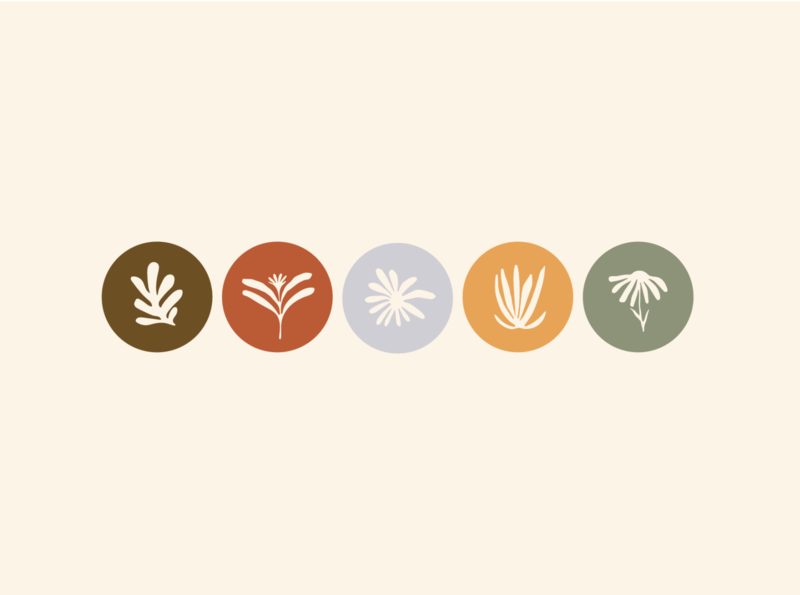 Philo Icons identity badge illustration hand drawn logo branding matisse flowers floral botanical set social iconography icon set instagram stories