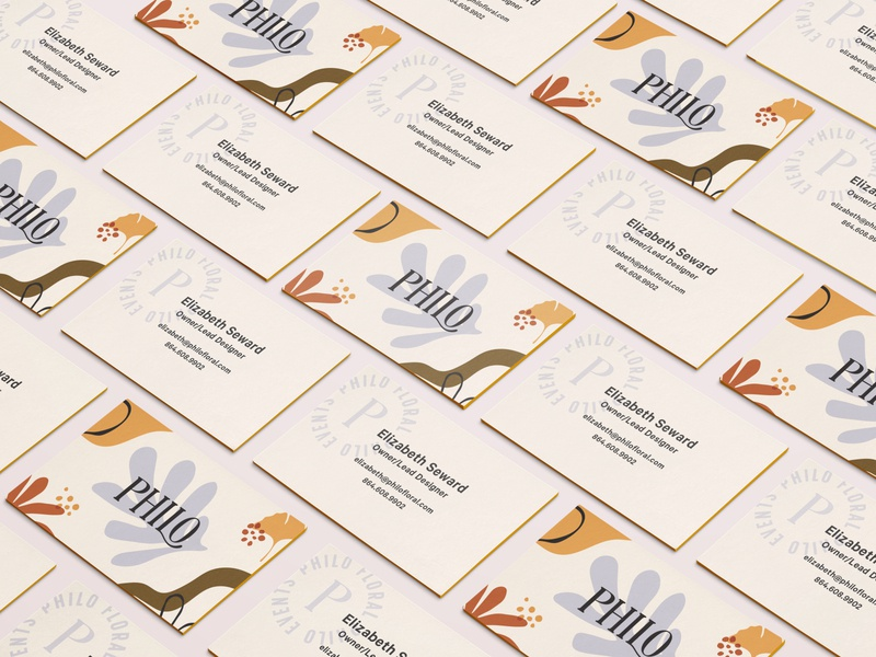 Philo Business Cards spot varnish color botanical funky serif branding card events florist floral modern greenville typography identity logo badge hand drawn abstract pattern business card
