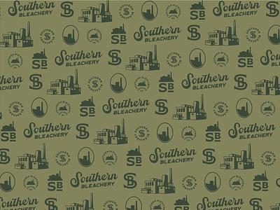 Southern Bleachery Logo Pattern hand drawn minimal system packaging modern pattern typography brand identity vintage monogram building illustration badge logo branding greenville taylors