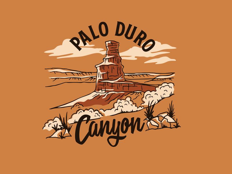 Palo Duro Canyon tshirt cacti cactus landscape handmade typogaphy illustration lettering hand drawn vintage cowboy western desert west national park parks state park texas canyon palo duro