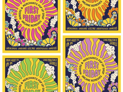 First Friday Poster greenville warp illustration hand dream badge logo typography groovy psychadelic flowers sun retro poster neon acid 60s 70s vintage friday