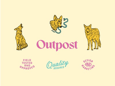 Outpost Brand Identity Set brand modern wild neon outpost cactus desert wolf pen and ink western coyote identity greenville hand drawn logo vintage typography badge branding illustration