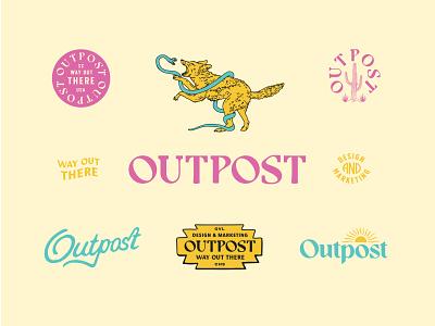 Outpost Brand Identity Set sign handmade script wild desert neon snake coyote cactus western identity brand modern hand drawn logo vintage typography badge branding illustration