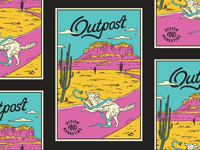 Outpost Poster vibrant landscape scene snake wolf coyote desert west poster line art identity typography design modern greenville hand drawn vintage illustration branding outpost