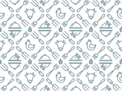 Farm to Fork dapper ink repeating pocket square patterning pattern shapes food cow simple minimal symbol line art