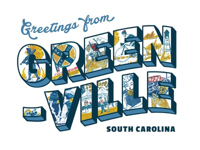 Greetings From Greenville typography illustration cmyk watecolor us sc greenville greetings from postcard vintage