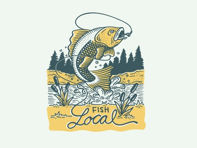 Go Fish landmark project dapper ink screenprint etching scratchboard illustration water fishy fish fishing local locally grown