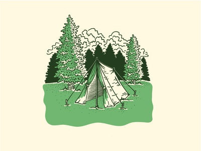 Camp Local landmark project dapper ink screenprint etching scratchboard illustration trees tent camp camping local locally grown