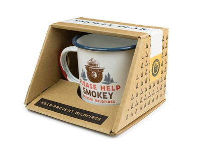 Smokey Bear Mug rei the landmark project anniversary sticker printed packaging enamel mug bear forest service prevent wildfires smokey