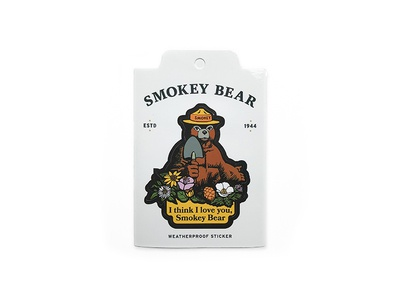 Smokey Bear Sticker illustration vintage smokey forest service wildfire rei the landmark project i love you bear weatherproof vinyl sticker