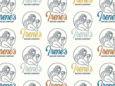 Irene's Baking Co. Full Logo circle pie cookie baking bakery food eating women woman identity round monoline hand drawn i script lettering typography branding brand logo