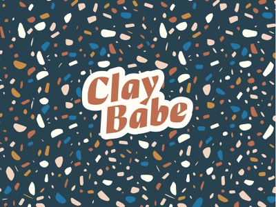 ClayBabe Collective Logo feminine identity decorative sans colorful minimal simple modern badge background pattern terrazzo earrings font typography brand logo jewelry babe clay