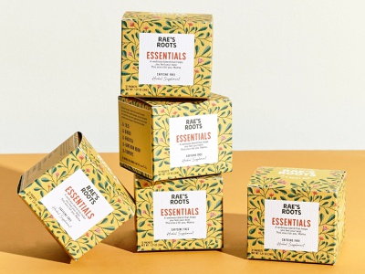 Branding and Packaging for Rae's Roots wellness mom ubb philly raes roots essential spring box packet tea herbal pattern floral hand drawn logo badge illustration branding packaging supplement