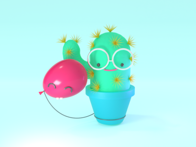 Friendship plant friends love illustration balloon cactus cute character design character render 3d vectary