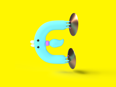 Letter E cymbal yellow vectary character design lettering typography cute character 3d 36 days of type