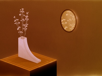 Cemento gold color filter dreamy dream haze neon flowers mirror reflection illustration vase