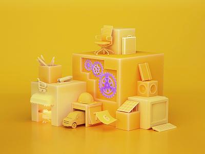 Santalucia Cubes production visual art advertising campaign color render cgi 3d
